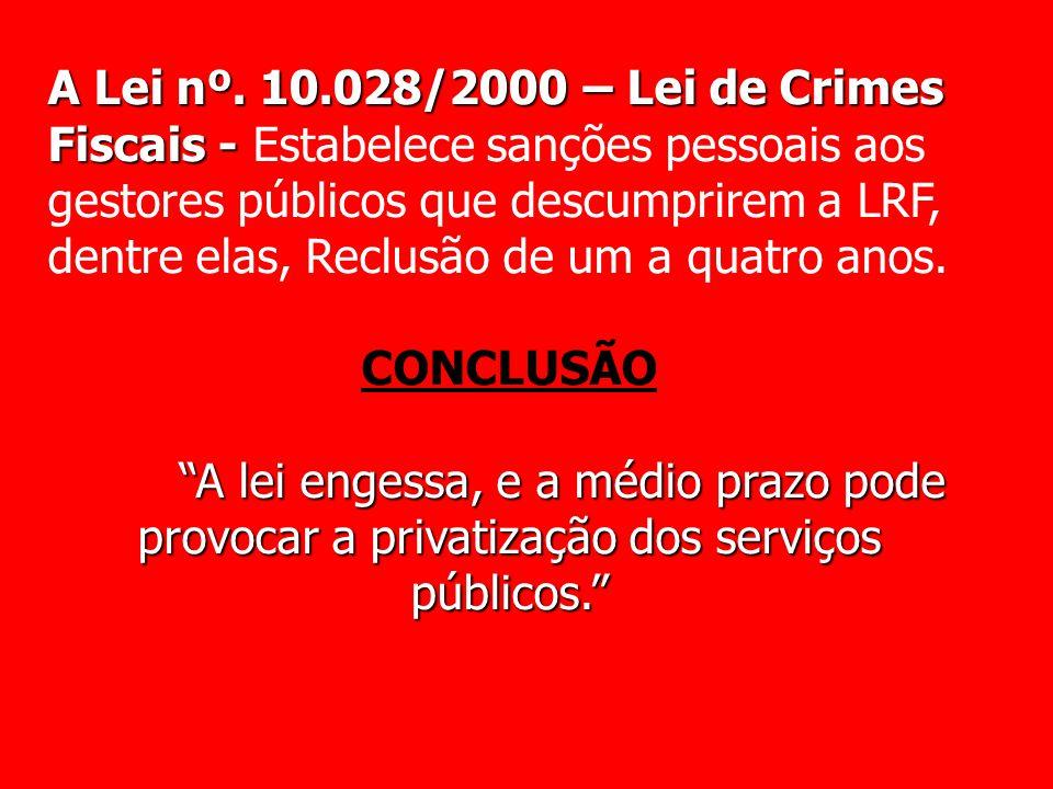 A Lei nº. 10.028/2000 – Lei de Crimes Fiscais - Estabelece sanções pessoais aos gestores públicos que descumprirem a LRF, dentre elas, Reclusão de um a quatro anos.