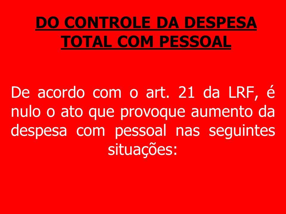 DO CONTROLE DA DESPESA TOTAL COM PESSOAL