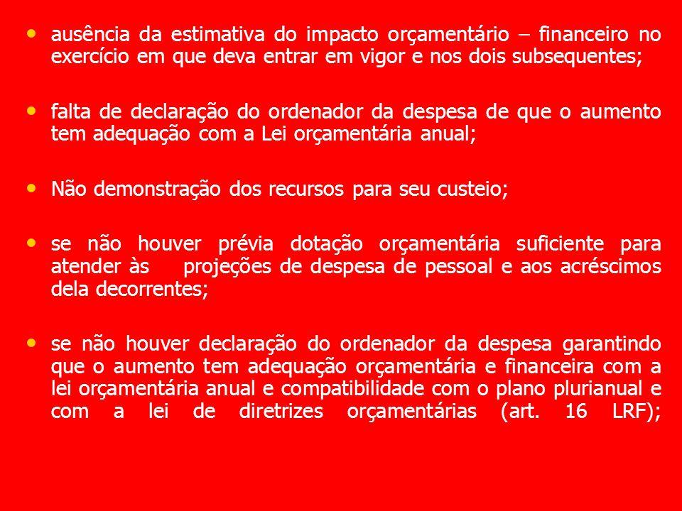 ausência da estimativa do impacto orçamentário – financeiro no exercício em que deva entrar em vigor e nos dois subsequentes;