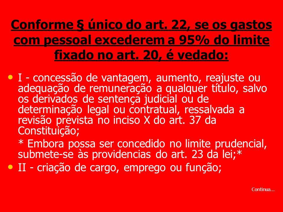 Conforme § único do art. 22, se os gastos com pessoal excederem a 95% do limite fixado no art. 20, é vedado:
