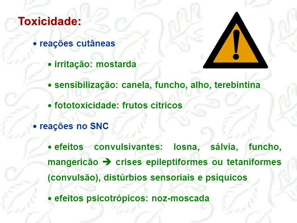 Toxicidade: reações cutâneas irritação: mostarda