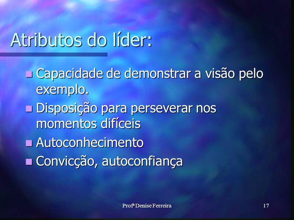 Atributos do líder: Capacidade de demonstrar a visão pelo exemplo.