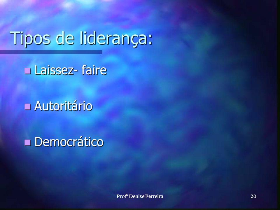 Tipos de liderança: Laissez- faire Autoritário Democrático