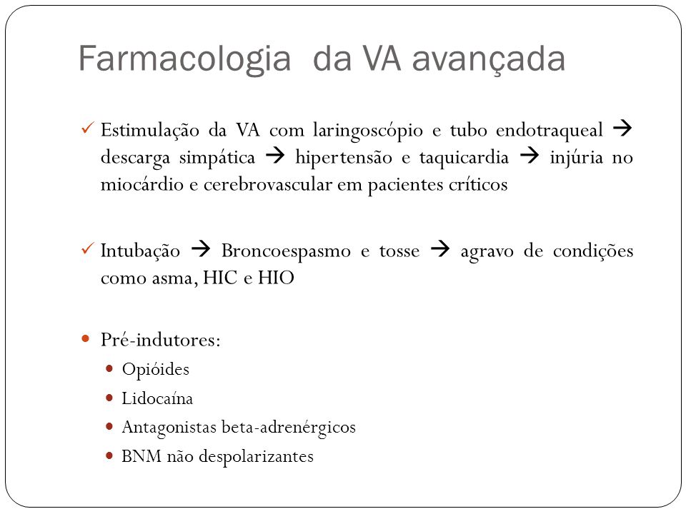 Farmacologia da VA avançada