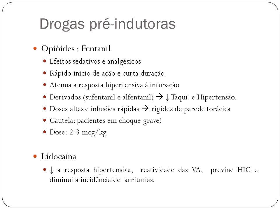 Drogas pré-indutoras Opióides : Fentanil Lidocaína