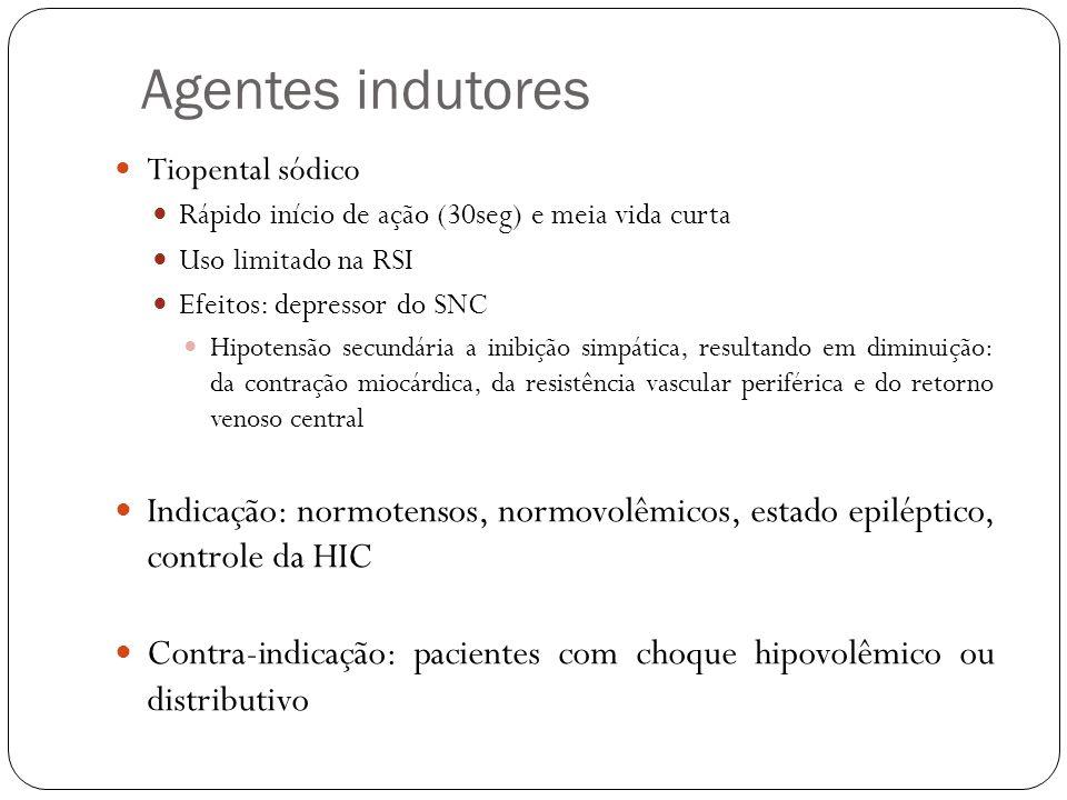 Agentes indutores Tiopental sódico. Rápido início de ação (30seg) e meia vida curta. Uso limitado na RSI.