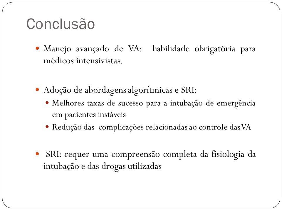 Conclusão Manejo avançado de VA: habilidade obrigatória para médicos intensivistas. Adoção de abordagens algorítmicas e SRI: