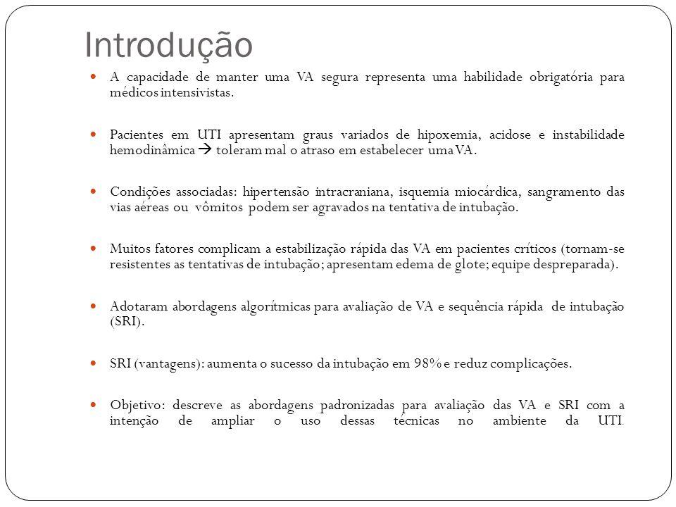Introdução A capacidade de manter uma VA segura representa uma habilidade obrigatória para médicos intensivistas.