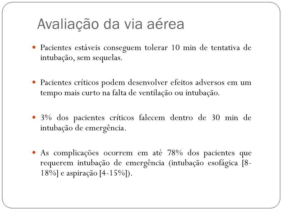 Avaliação da via aérea Pacientes estáveis conseguem tolerar 10 min de tentativa de intubação, sem sequelas.