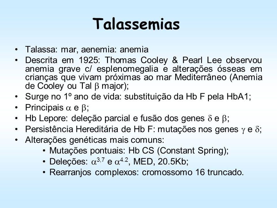 Talassemias Talassa: mar, aenemia: anemia