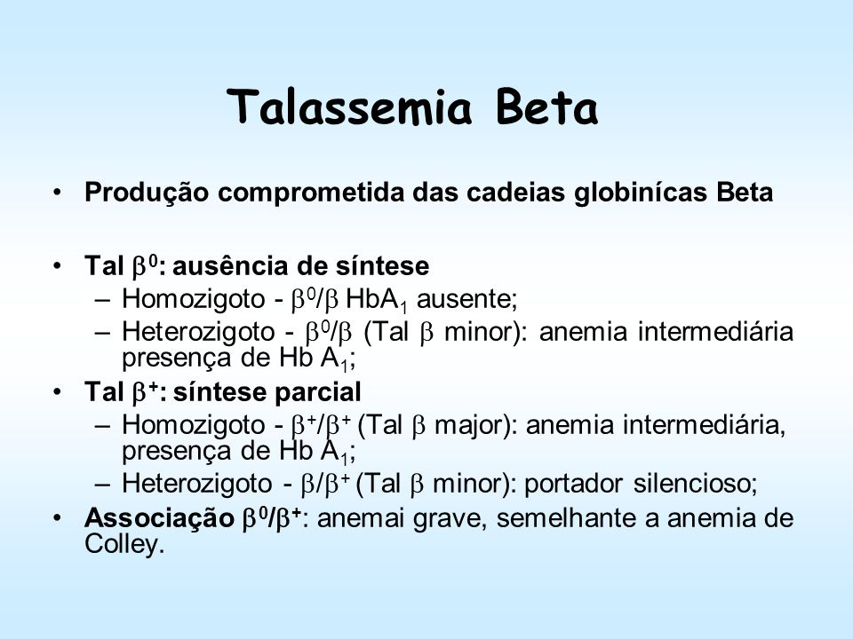 Talassemia Beta Produção comprometida das cadeias globinícas Beta