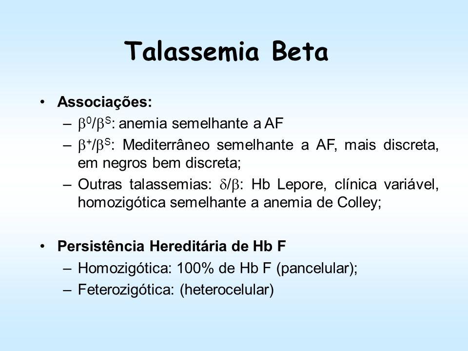 Talassemia Beta Associações: 0/S: anemia semelhante a AF