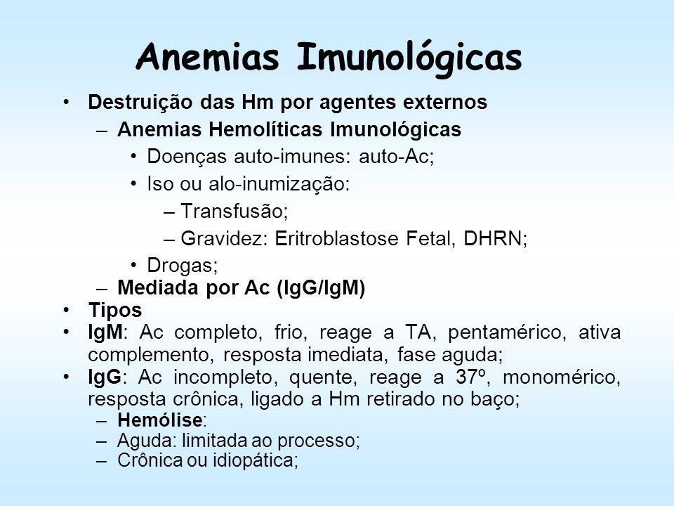 Anemias Imunológicas Destruição das Hm por agentes externos