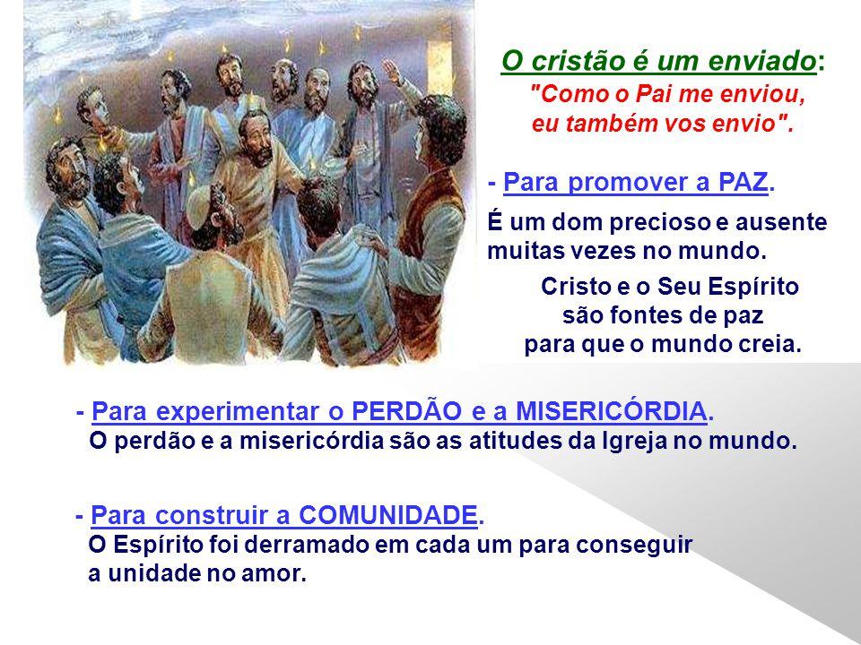 O cristão é um enviado: Como o Pai me enviou, eu também vos envio .