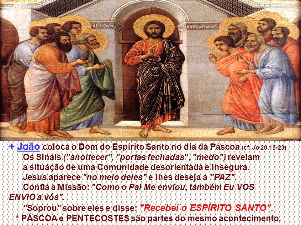 + João coloca o Dom do Espírito Santo no dia da Páscoa (cf