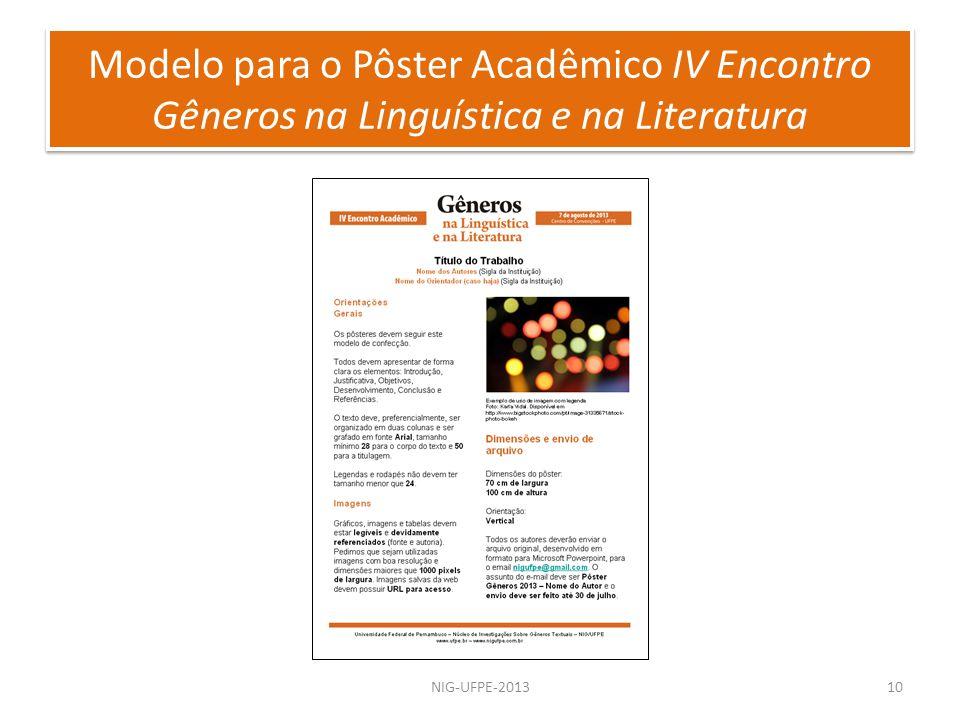 Modelo para o Pôster Acadêmico IV Encontro Gêneros na Linguística e na Literatura