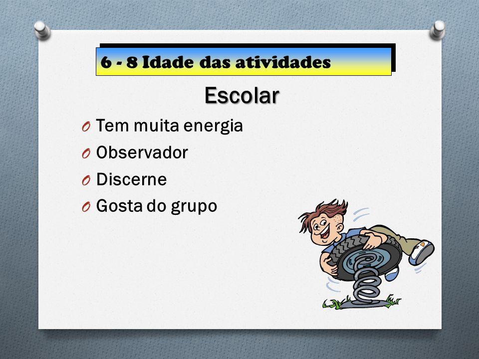 Escolar 6 - 8 Idade das atividades Tem muita energia Observador