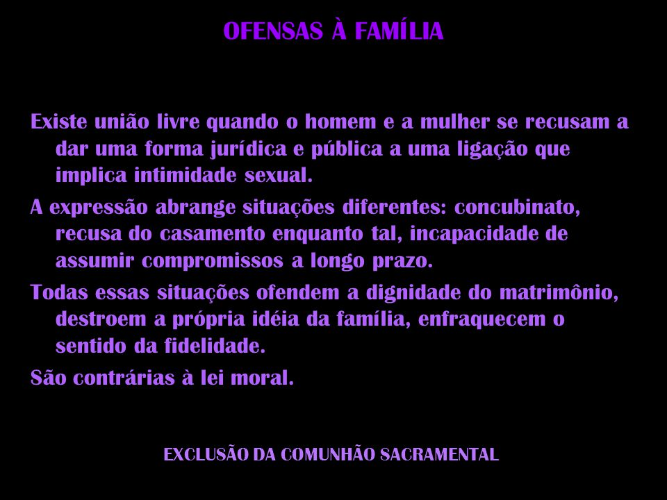 EXCLUSÃO DA COMUNHÃO SACRAMENTAL