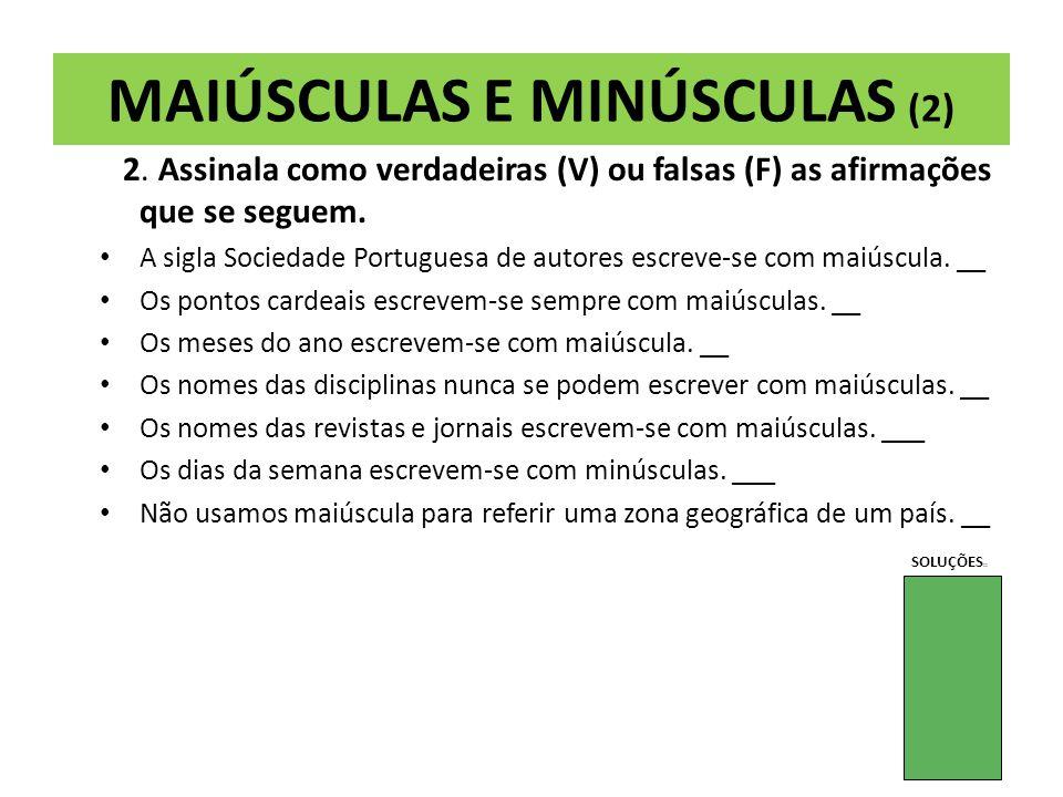 MAIÚSCULAS E MINÚSCULAS (2)
