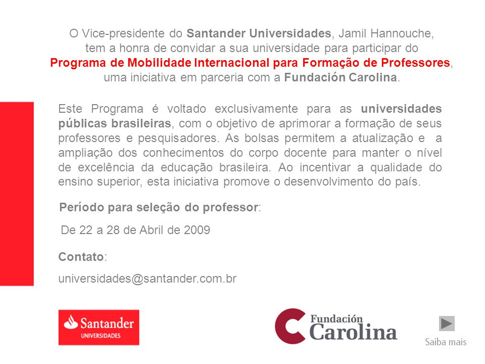 O Vice-presidente do Santander Universidades, Jamil Hannouche,