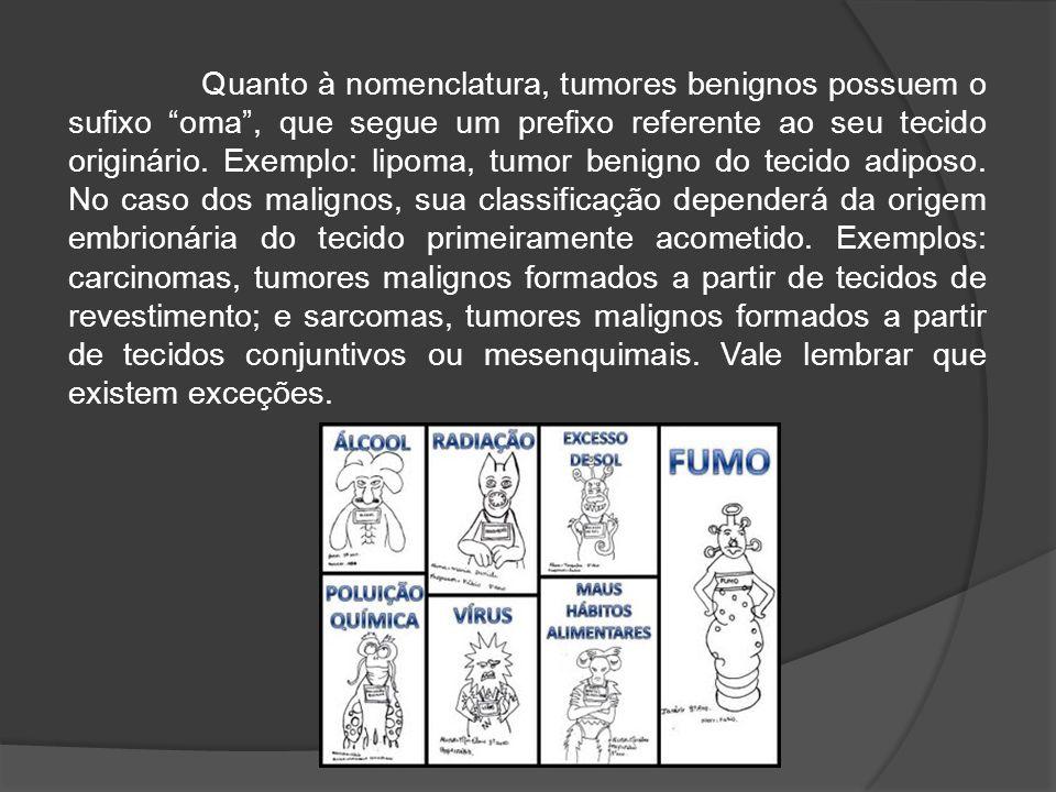 Quanto à nomenclatura, tumores benignos possuem o sufixo oma , que segue um prefixo referente ao seu tecido originário.