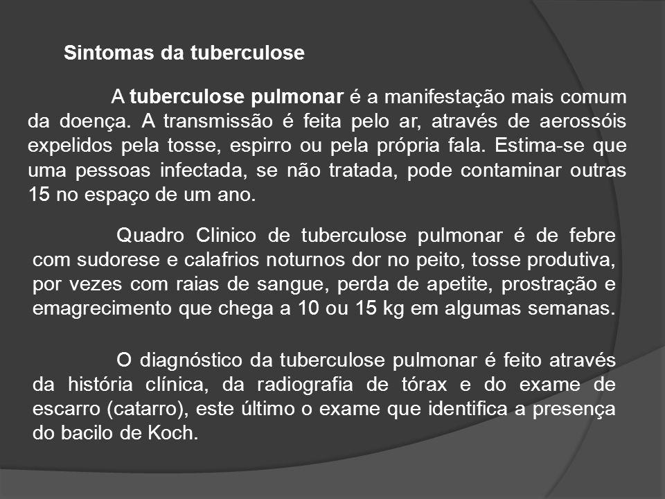 A tuberculose pulmonar é a manifestação mais comum da doença