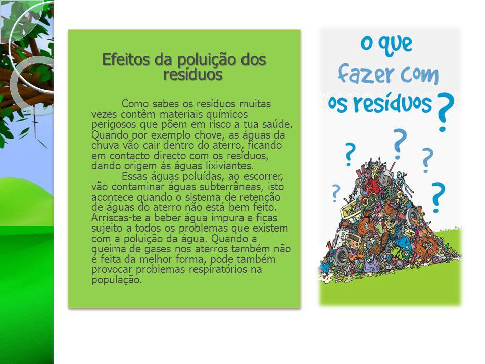 Efeitos da poluição dos resíduos