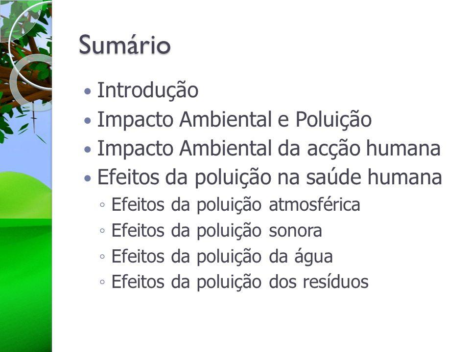 Sumário Introdução Impacto Ambiental e Poluição