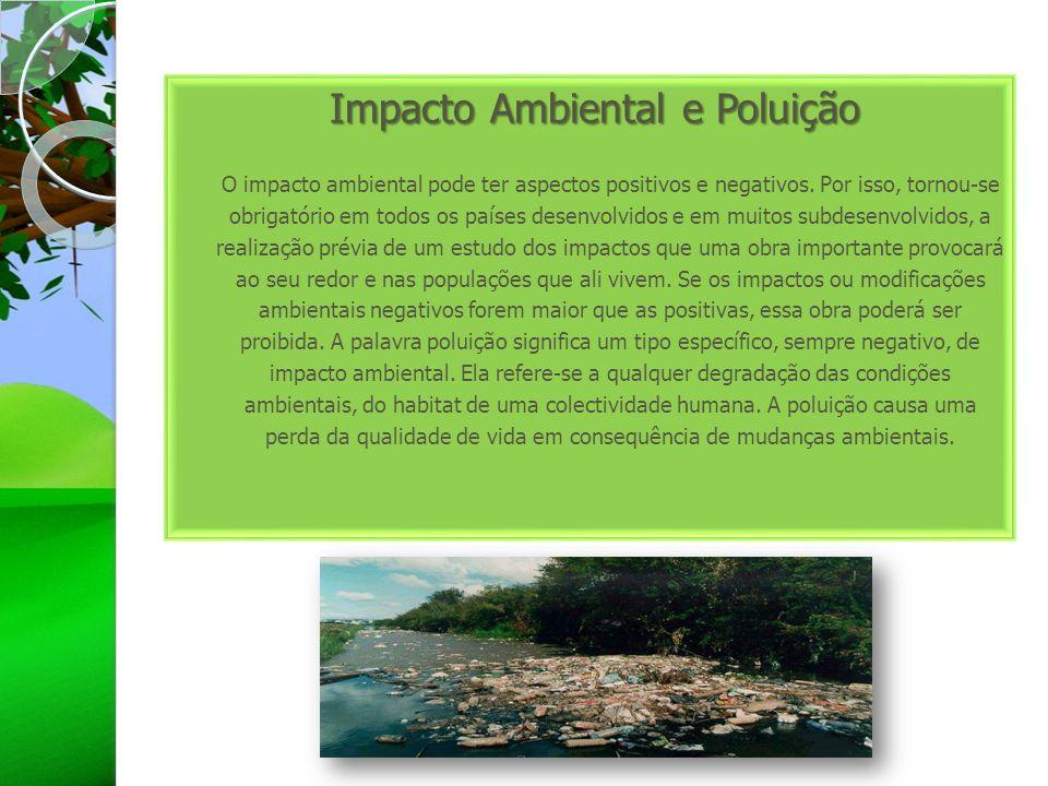 Impacto Ambiental e Poluição O impacto ambiental pode ter aspectos positivos e negativos.