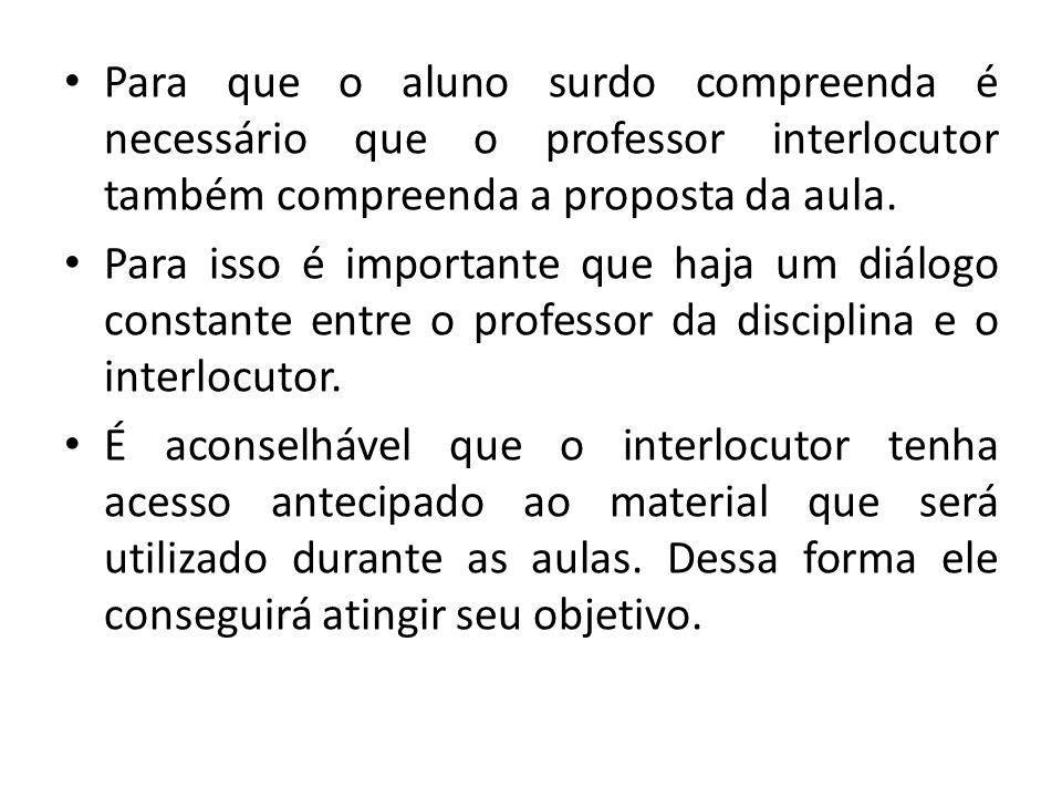 Para que o aluno surdo compreenda é necessário que o professor interlocutor também compreenda a proposta da aula.
