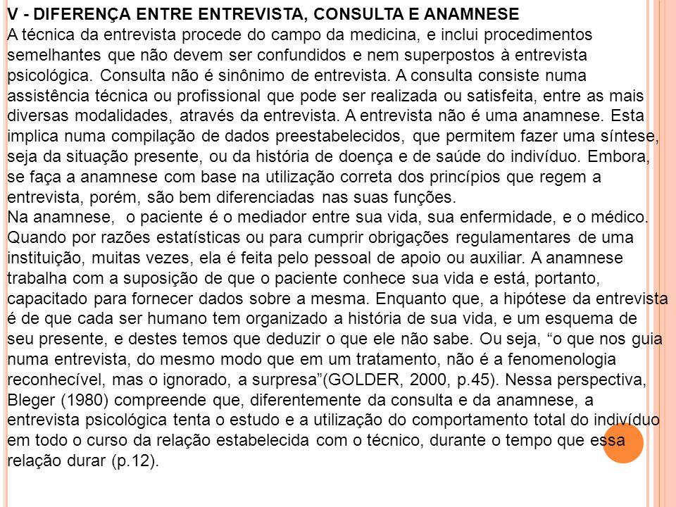V - DIFERENÇA ENTRE ENTREVISTA, CONSULTA E ANAMNESE