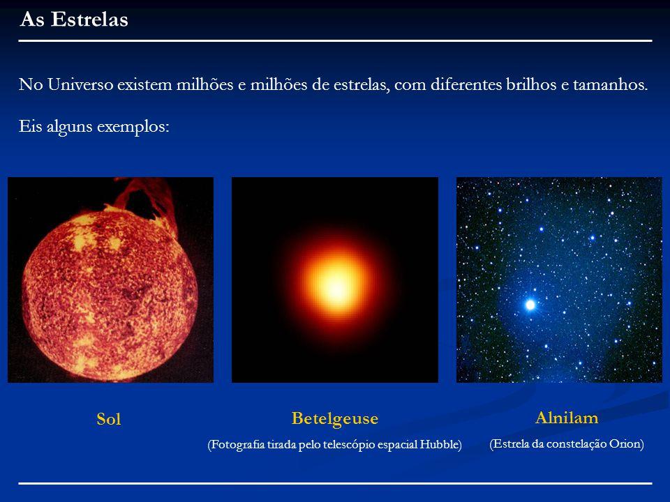 As Estrelas No Universo existem milhões e milhões de estrelas, com diferentes brilhos e tamanhos. Eis alguns exemplos: