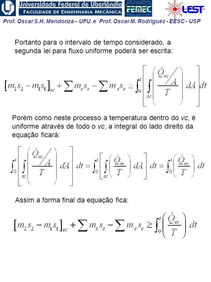 Portanto para o intervalo de tempo considerado, a segunda lei para fluxo uniforme poderá ser escrita: