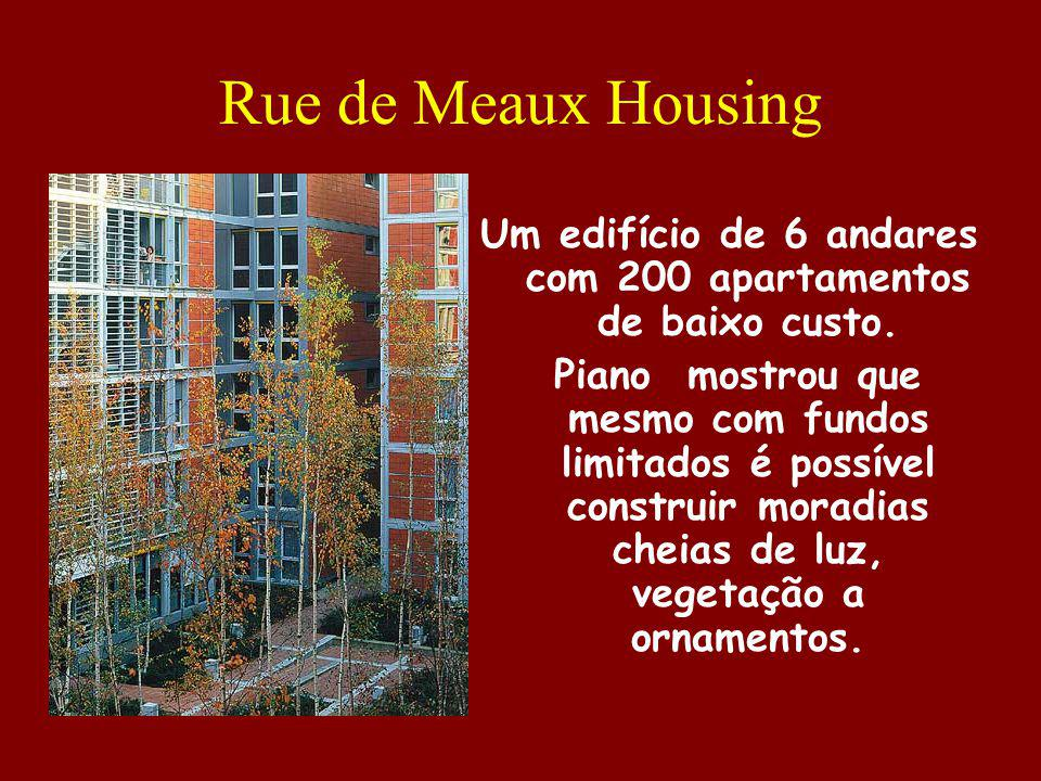 Um edifício de 6 andares com 200 apartamentos de baixo custo.
