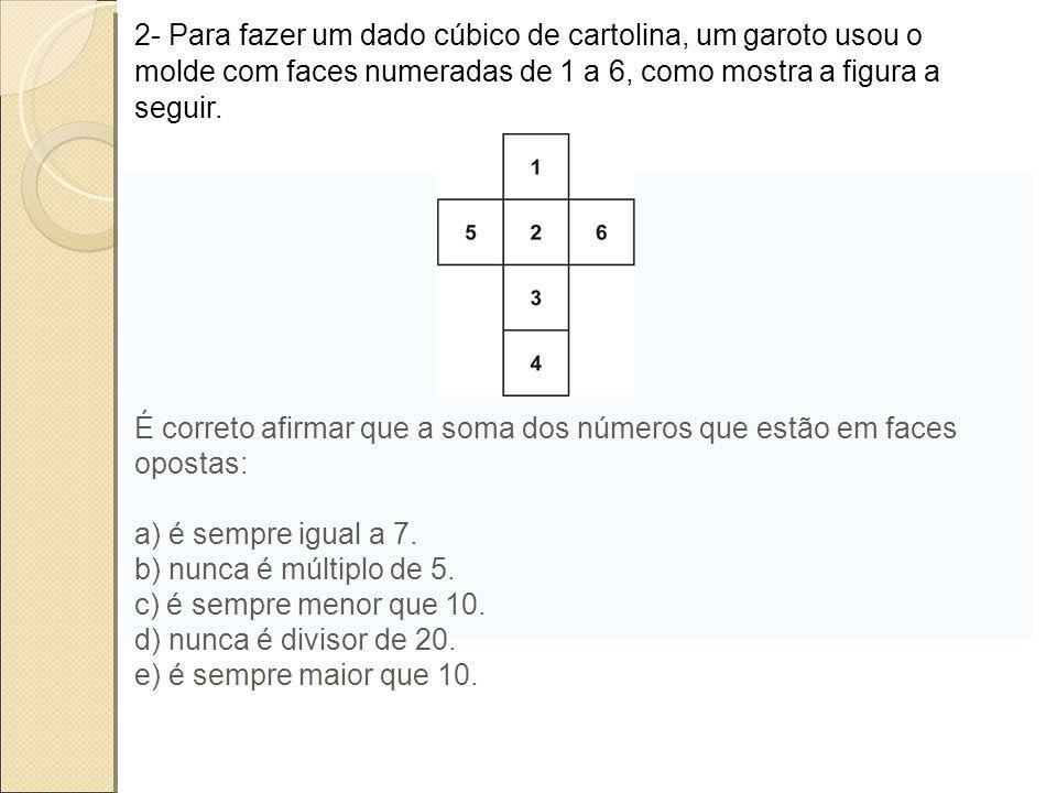 2- Para fazer um dado cúbico de cartolina, um garoto usou o molde com faces numeradas de 1 a 6, como mostra a figura a seguir.