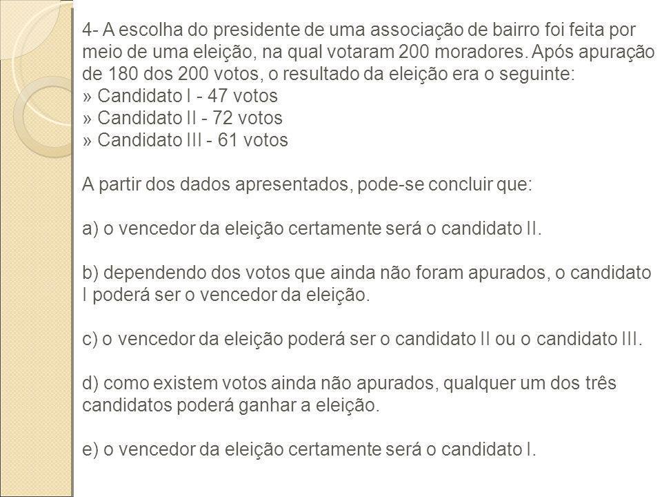 4- A escolha do presidente de uma associação de bairro foi feita por meio de uma eleição, na qual votaram 200 moradores. Após apuração de 180 dos 200 votos, o resultado da eleição era o seguinte: