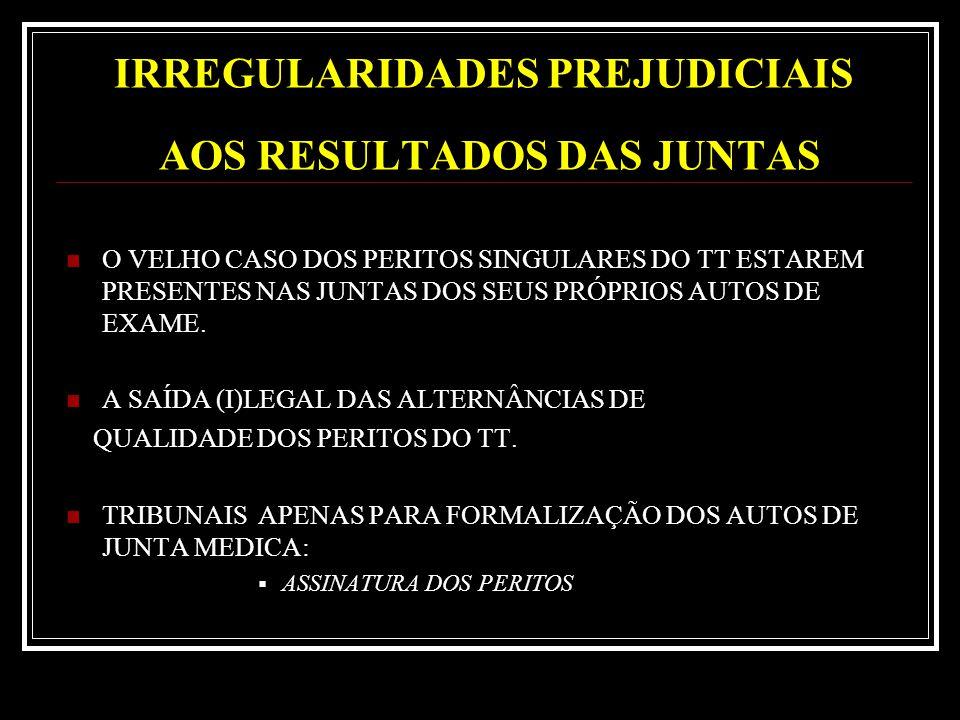 IRREGULARIDADES PREJUDICIAIS AOS RESULTADOS DAS JUNTAS