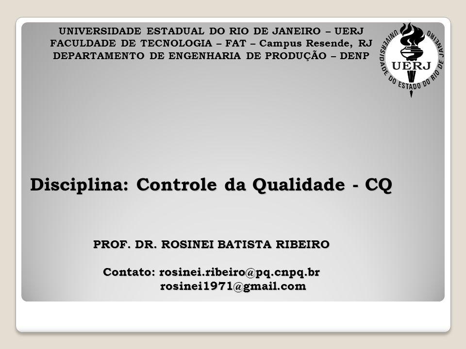 Disciplina: Controle da Qualidade - CQ