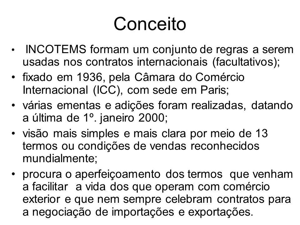 Conceito INCOTEMS formam um conjunto de regras a serem usadas nos contratos internacionais (facultativos);