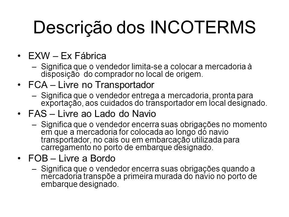 Descrição dos INCOTERMS