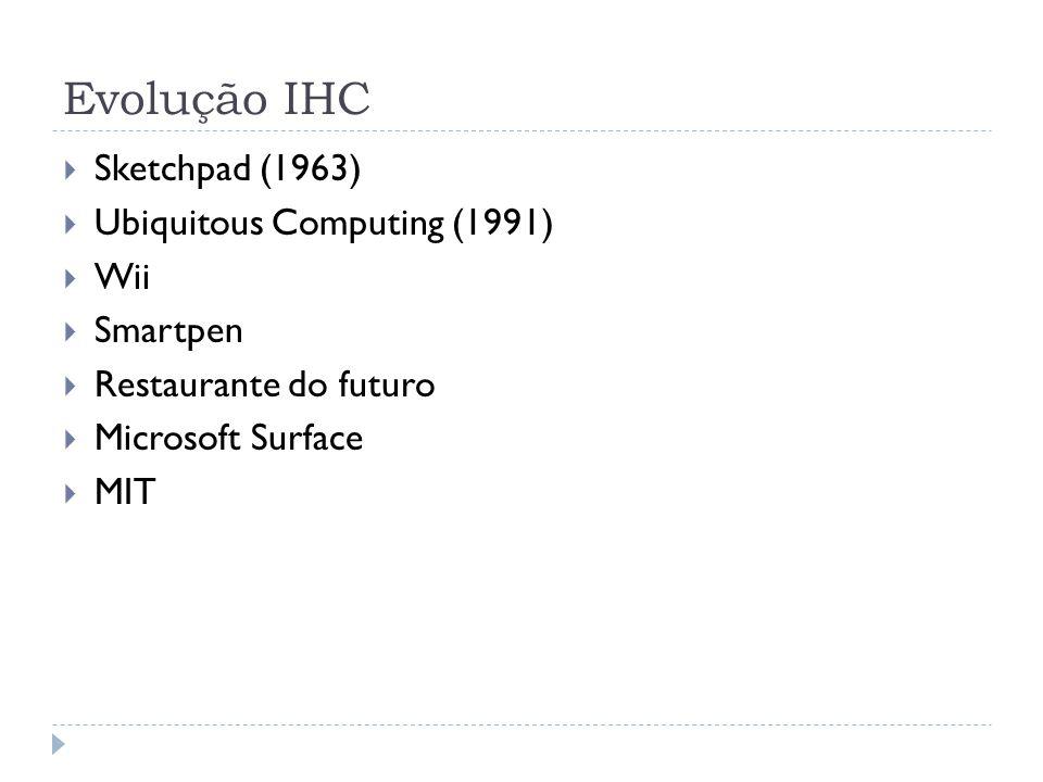 Evolução IHC Sketchpad (1963) Ubiquitous Computing (1991) Wii Smartpen