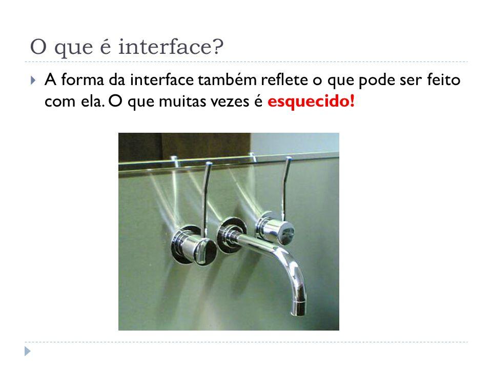 O que é interface. A forma da interface também reflete o que pode ser feito com ela.