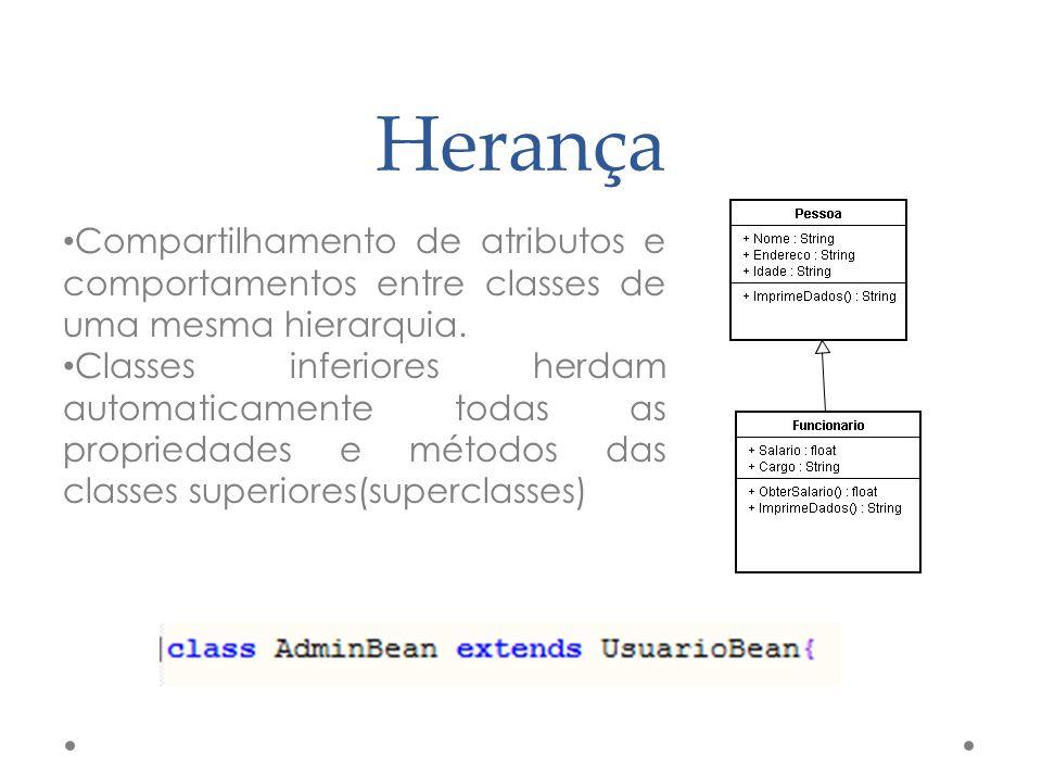 Herança Compartilhamento de atributos e comportamentos entre classes de uma mesma hierarquia.