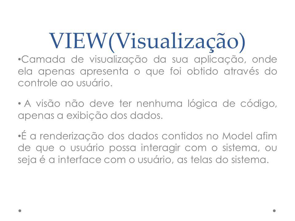 VIEW(Visualização) Camada de visualização da sua aplicação, onde ela apenas apresenta o que foi obtido através do controle ao usuário.