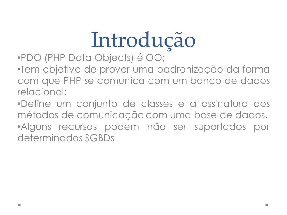 Introdução PDO (PHP Data Objects) é OO;