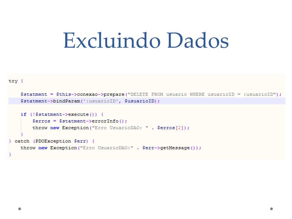Excluindo Dados