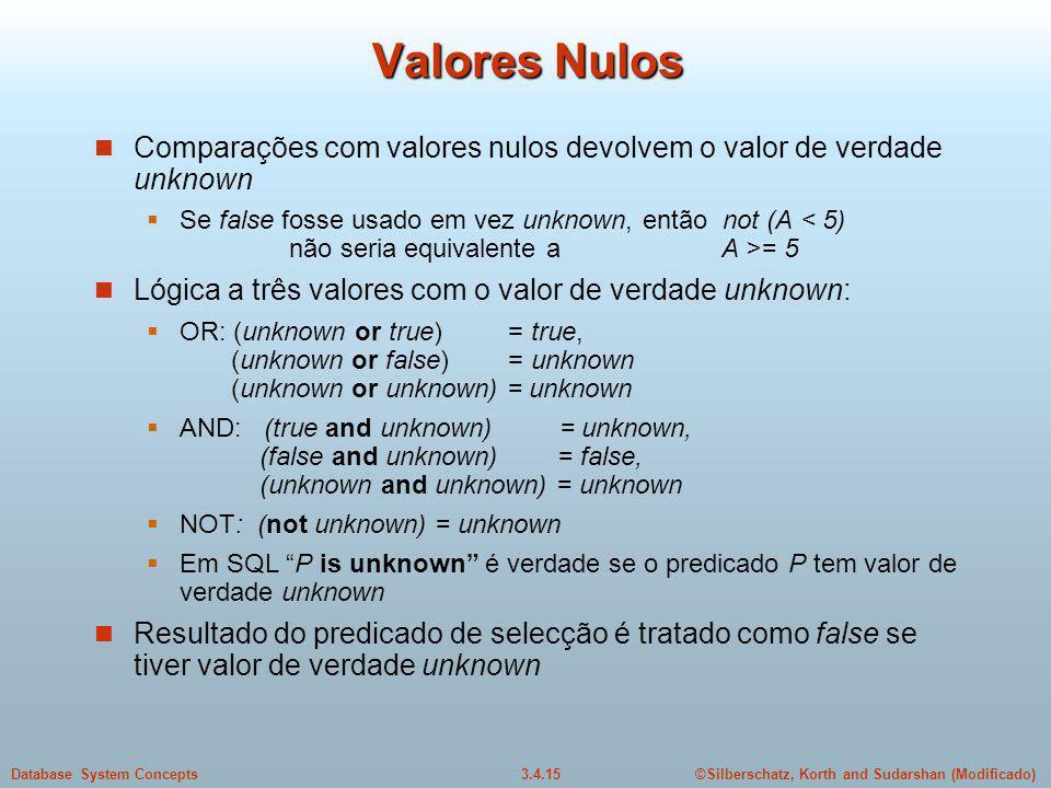 Valores Nulos Comparações com valores nulos devolvem o valor de verdade unknown.