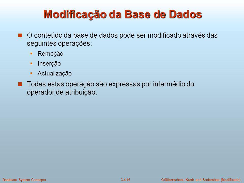 Modificação da Base de Dados