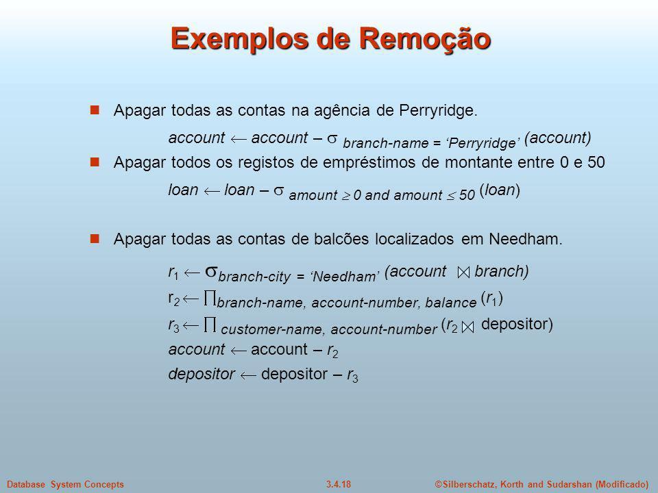 Exemplos de Remoção Apagar todas as contas na agência de Perryridge.
