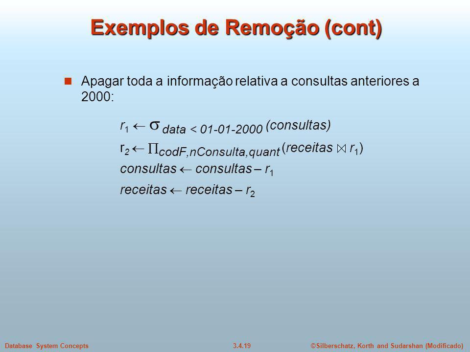 Exemplos de Remoção (cont)